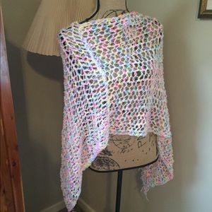 Sweaters - Neon and white boho poncho